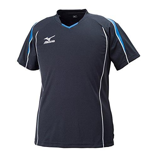 [ミズノ] バレーボールウエア プラクティスシャツ 半袖 吸汗速乾 ドライ スリムフィット 男女兼用 V2MA6087 92 ブラック×ブルー 2XL
