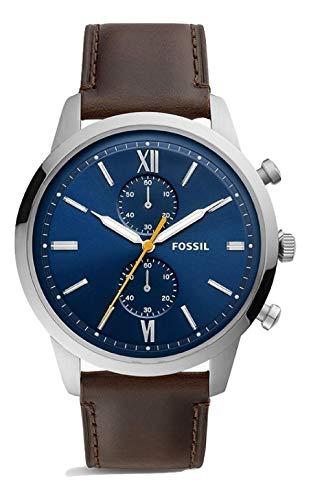 Fossil Men's 48mm Townsman Chronograph Silver-Tone Stainless Steel Watch FS5549