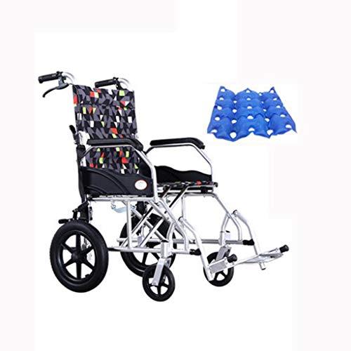 Silla de ruedas de transporte plegable - Freno doble Asiento de 45 cm de ancho Marco de aleación de aluminio, Silla de ruedas ligera para adultos mayores, Capacidad de peso de 120 kg Silla de ruedas