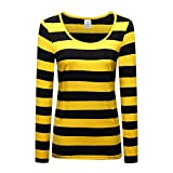OThread & Co. Women's Long Sleeve Striped T-Shirt Scoop Neck Tee (Large, Yellow&Black)