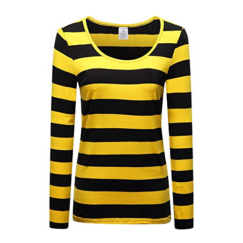 OThread & Co. Women's Long Sleeve Striped T-Shirt Scoop Neck Stretchy Cotton Tee (Small, Yellow&Black)