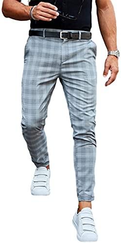 Pantalones Chinos Casuales para Hombres Pantalones a Cuadros clásicos Estiramiento Pinza Slim Fit Tobillo Pantalones con botón y Cremallera (Color : Grau Blau, Size : 3XL)