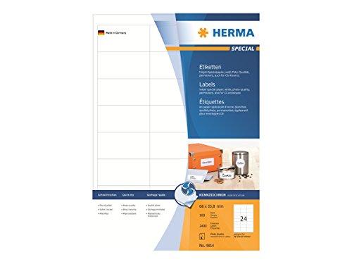 HERMA 4814 Universal Etiketten für Inkjet Drucker DIN A4 (66 x 33,8 mm, 100 Blatt, Papier, matt) selbstklebend, bedruckbar, permanent haftende Aufkleber, 2.400 Klebeetiketten, weiß