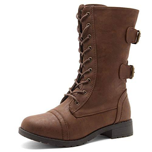 Herstyle Florence2 Damen Stiefeletten Schnürschuhe Military Combat Booties Mid Calf Boots, Braun (braun), 39 EU