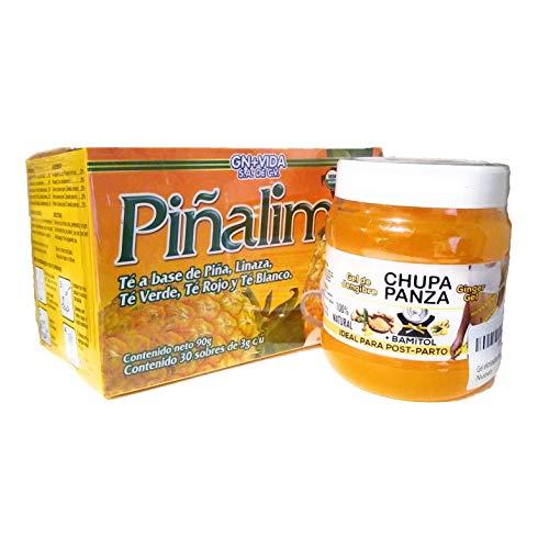 SmileMore Pinalim Tea + Gel Chupa panza de jengibre y bamitol , Te de Pinalim- Pineapple, Flax, Green Tea, White Tea - 30 Day Supply