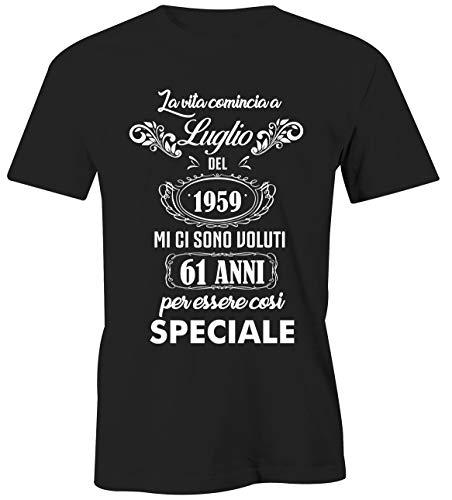 Puzzletee T-Shirt Compleanno Luglio - La Vita Comincia a Luglio del 1959 Mi Ci Sono Voluti 61 Anni per Essere così Speciale - Magliette Simpatiche e Divertenti - Idea Regalo