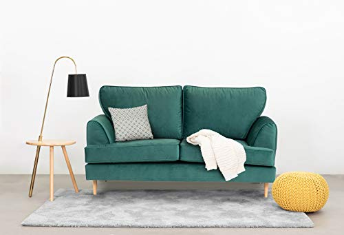 Abakus Direct | Harper 2 or 3 Seater Sofa Love Cuddle Chair Armchair Couch Settee in Forest Green Water Repellent Velvet Fabric (2 Seater)