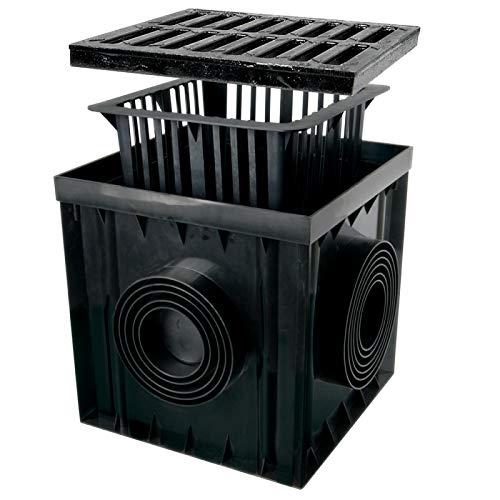 Verdone Hofablauf Gartenablauf schwarz Graphit PVC Gusseisen Gitter Bodenablauf Regenablauf (A15 PP/PVC Graphit, 30x30x30 cm)
