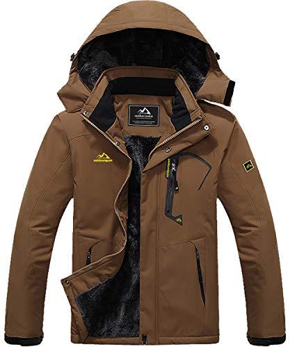 MAGCOMSEN Mens Winter Jacket Waterproof Jacket Ski Jacket Snowboarding Jacket with Multi-Pockets Brown