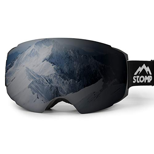 Stomp Ski Goggles PRO - Frameless, Interchangeable Lens 100% UV400 Protection Snow Goggles for Men & Women (Lens Jet Black VLT 21%)