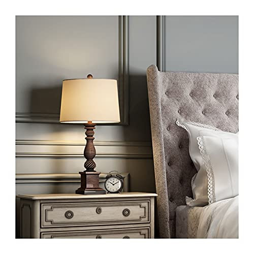 Lámpara para mesita 24 '' Lámpara de mesa rústica para sala de estar Lámparas de escritorio de la cama de la casa de campo Dormitorio Nightstand Vintage Lámparas de lino de tambor de tambor de tambor