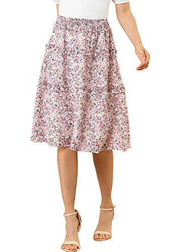 Allegra K Women's Floral Skirts Smocked Elastic Waist Knee Length Ruffle Tiered Skirt Small Pink