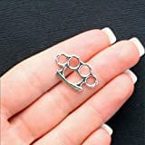 8 Pcs 24mm Brass Knuckle Accessory Charms Antique Silver Tone 2 Sided Pendant Necklace Jewelry Making Supplies Craft DIY Kit