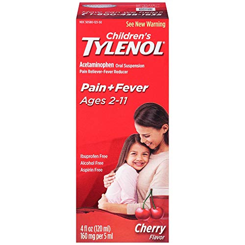 Tylenol Children's Pain Reliever/fever Reducer Oral Suspension Liquid, Cherry Flavor 4 Oz (Pack of 2)
