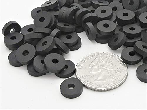 """[100 Pack] 1/4"""" x 5/8"""" EPDM Rubber Washer, Neoprene Flat Washers spacers, 16.5mm OD 6.5mm ID 3mm Thickness for Faucet Pipe Water Hose & Bolts etc"""