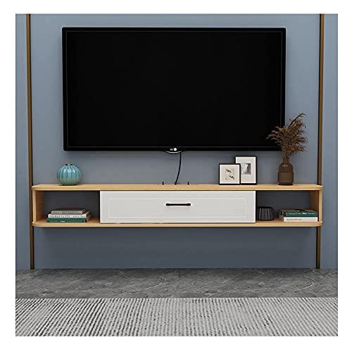 PPOIU Consola de TV Soporte de TV Gabinete montado en la Pared, Unidad de Entretenimiento Flotante para Sala de Estar, Centro de Entretenimiento, 4 Colores/C / 100 × 20.4cm
