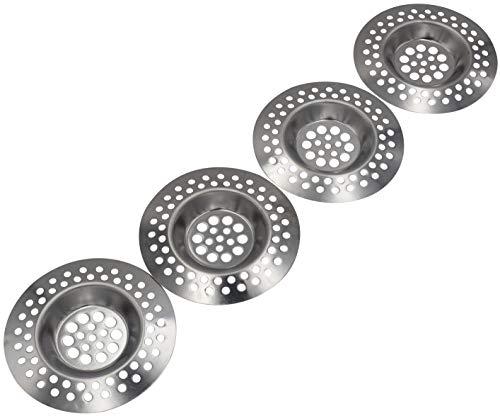 4er SET Abflusssieb aus rostfreiem Edelstahl geeignet für Dusche Spüle Waschbecken und als Badewannen Ausguss-Filter Haarfang-Sieb Spülmaschinen geeignet