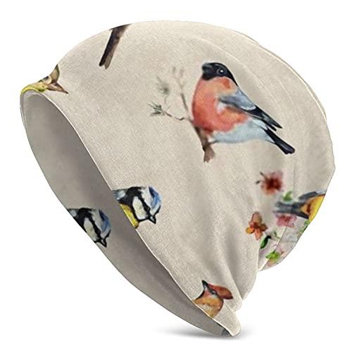 Acuarela Pintura Flor Animal Beanie Hombres Mujeres Unisex Cuffed Plain Invierno Diario Baggy Skull Knit Hat Cap