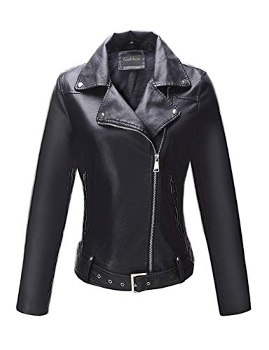 Giolshon 7906 - Giacca da donna in finta pelle per moto, casual, taglia XL, colore: Nero