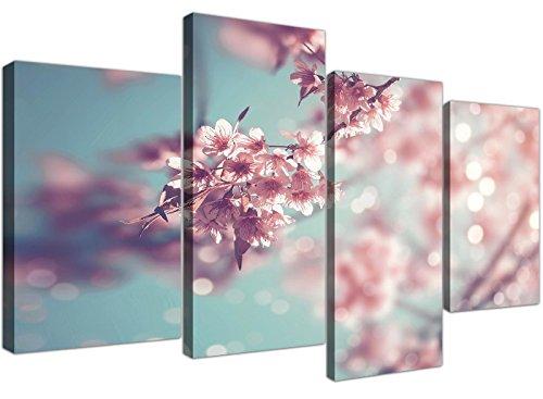 Wallfillers Grote Eend Ei Blauw Roze Shabby Chic Blossom Bloemen Doek Split 4 Stuk - 4280