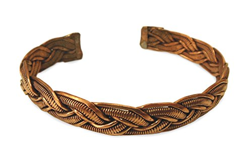 Schmuck Armreif aus Kupfer Metall geflochten, Metall Armband Armschmuck Armreifen handgefertigt detailreich gemustert