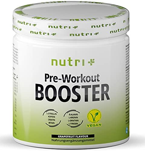 V-BOOSTER Vegan - 400g Grapefruit - PRE-WORKOUT Shake hochdosiert - Koffein, Citrullin, L-Arginin, Creatin, ß-Alanin, N-Acetyl-Tyrosin, Betain - Fitness-Booster