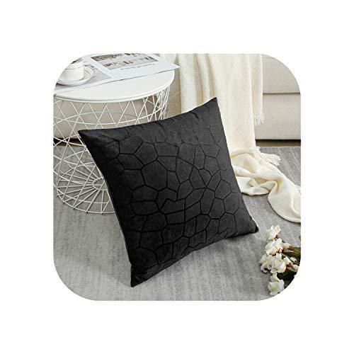 My cat - Funda de cojín de terciopelo suave, diseño geométrico, para sofá, hogar, funda de almohada multicolor, color negro, geométrico, 45 x 45 cm