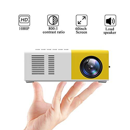 MIMI KING LED Mini proyector 320x240 píxeles Soporta USB 1080P HDMI de Audio portátil proyector de Home Media Reproductor de vídeo,Amarillo