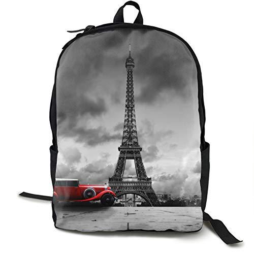 Torre Eiffel París Francia Y Rojo Retro Coche Viaje Portátil Mochila Hombre Ordenador Para Camping Escalada Ciclismo