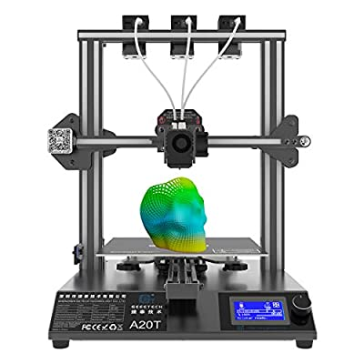 Geeetech A20T Tricolor 3D Printer,with The Newest GT2560 4.0 Open Source Control Board,Filament Dectector,Breaking-resuming,Self-Leveling Function,255×255×255mm³