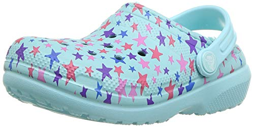 Crocs Unisex-Kinder Classic Printed Lined K Clogs,Blau (Ice Blue), 28/29 EU