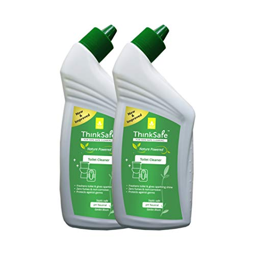 Organica ThinkSafe Natural Toilet Cleaner Liquid, Eco friendly, Septic tank safe, Garden Bloom-475ml (double pack)