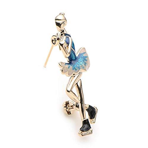 ZWLZQ Broschen Brosche Mädchen blau Emaille Skater Abbildung Broschen Legierung Skating Mädchen Sporttasche Kragen Broschen Pins