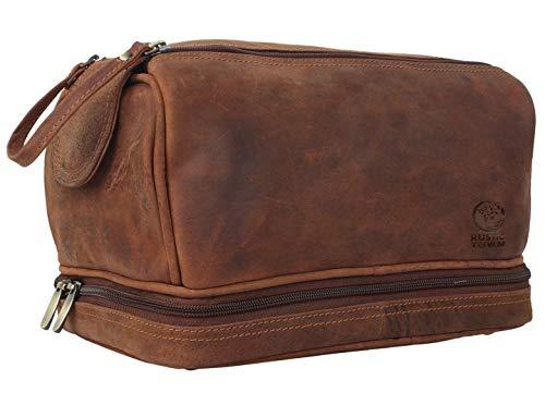 Rustic Town Kulturtasche Männer Leder große Waschtasche Herren im Vintage Design Toilettentasche ideal für Reisen Kulturbeutel aus echtem Leder
