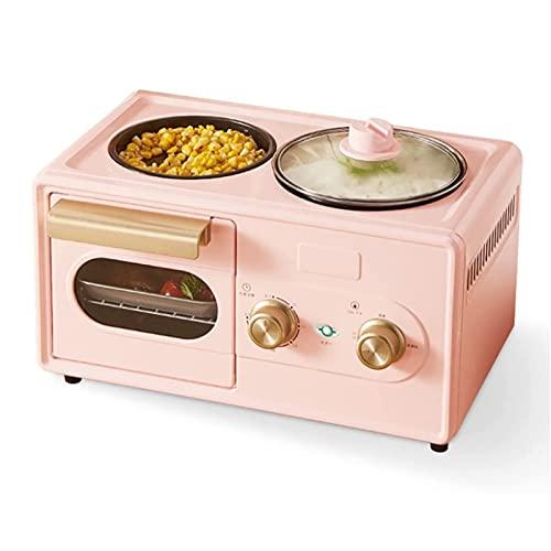YUEDAI Mini Horno Máquina de Desayuno de Cuatro en uno 6L, Horno de Mesa eléctrico con Ajuste de Temperatura 30-230  Y 60 Minutos Temporizador, 1350 1350 Horno de tostadora de Doble glaseada