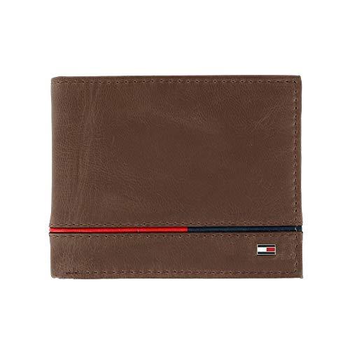 Tommy Hilfiger Leif Herren Leder Geldbörse RFID Bifold Wallet mit Flip ID Gr. Einheitsgröße, braun