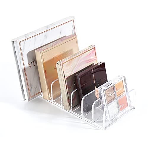 YIEZI Organizador de Maquillaje – Caja Transparente con 7 Compartimentos de Ojos, Polvos, Coloretes, Iluminadores y Bases - Organizador de Cosméticos Vertical para Lavabo y Tocador