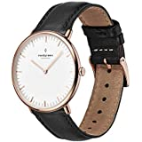 Nordgreen Native Scandinavian Rose Gold Unisex Analog 36mm Watch with Black Leather Strap 10054