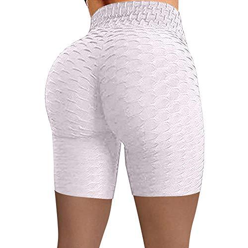 ArcherWlh Pantaloni da Yoga Donna Larghi,I Fianchi ad Alta Vita Femminili Sportivi Jacquard Bolla Yoga Pantaloni Cinque Punti Pantaloncini Elastici Femminili-Grigio Profondo (Tre Punti)_S