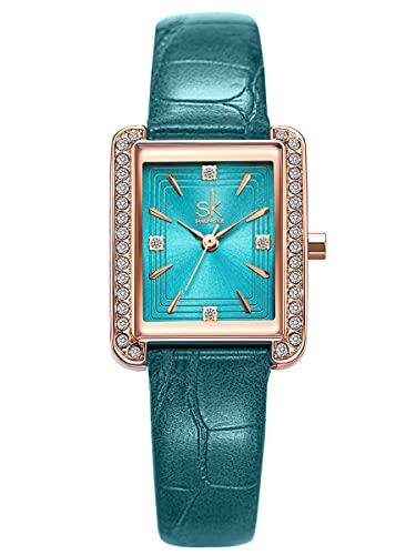 Alienwork Reloj Mujer Oro Rosa Pulsera de Cuero Azul Strass Purpurina Elegante