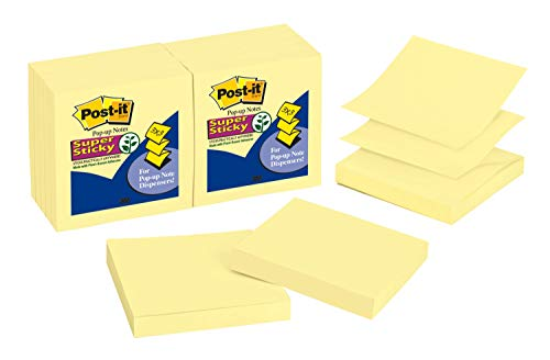 Post-it Super Sticky Pop-up Notes, 3x3 in, 12 Pads, 2x the Sticking Power, Canary Yellow, Recyclable (R330-12SSC)