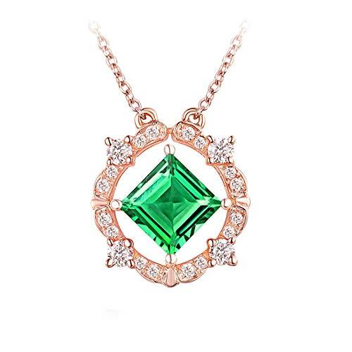 Bishilin Colgante de Cadena de Oro Rosa de 18K, Cuadrado Y Redondo Esmeralda de 0.6ct con Diamantes de 0.15ct Collares Pendientes Elegante Collar para Mujeres Niñas para Cumpleaños Navidad