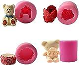hwljxn 4pcs 3D Rose Bear Bear Forma Molde de Silicona Fondant Molde para la fabricación de Joyas, Fabricación de Velas de aromaterapia y proyectos de elaboración