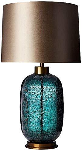 Lámpara de mesa de cristal vintage azul con luz cálida, moderna y minimalista, para sala de estar, dormitorio, estudio, oficina, 40 x 40 x 70 cm