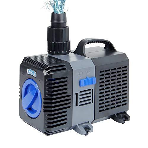 Yorbay Bomba de Agua anfibiade frecuencia Variable 20W 3000L/h Sistema de filtración en un Estanque de jardín Paisajes artifi cialescomo Arroyos y cascadas Acuario
