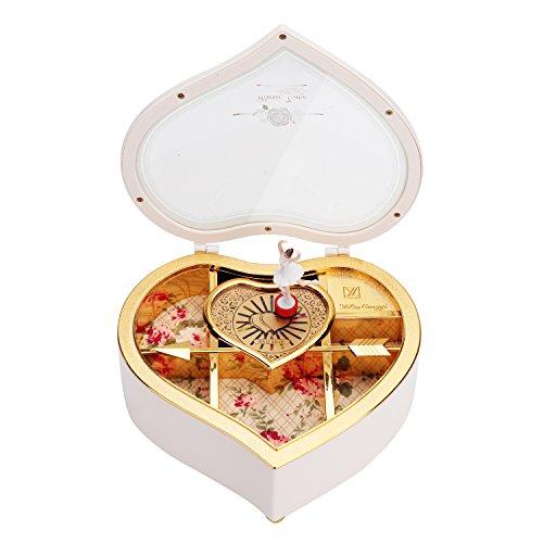 Pinzhi - Boîte à Bijoux Musique Ballerine en Form Coeur Coffret Musical Ballerina Music Jewelry Box Cadeau Noël pour Fille Jouet Enfants, Blanc/Noir