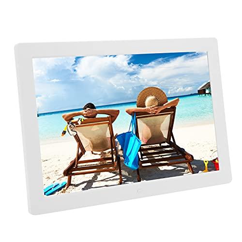 Marco de Fotos Digital, Marco de Fotos Digital HD de 15,4 Pulgadas, Resolución de 1280x800, Compatible con MP3 / MP4 / Reproducción de Imágenes, Reloj, Calendario, Interruptor de Tiempo, Etc.(EU)