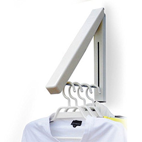 Folding Clothes Hanger Wall Mounted Retractable Clothes Hanger Drying Rack Great Space Saver for Laundry Room Attic Garage Indoor Outdoor Use Stainless Steel Easy Installation 81258