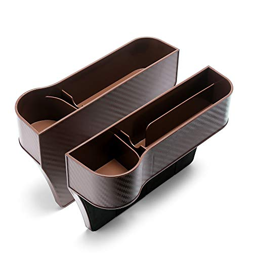 Car Seat Gap Organizer Front Seat Gap Filler, Multifunctional Car Seat Organizer, Premium Storage Box, A Pair, Driver and Passenger Side (Brown)