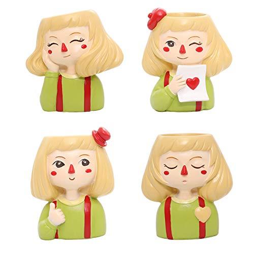 Redsa Lote de 4 macetas de resina para niña con forma de chica, para decoración de escritorio de oficina en el hogar